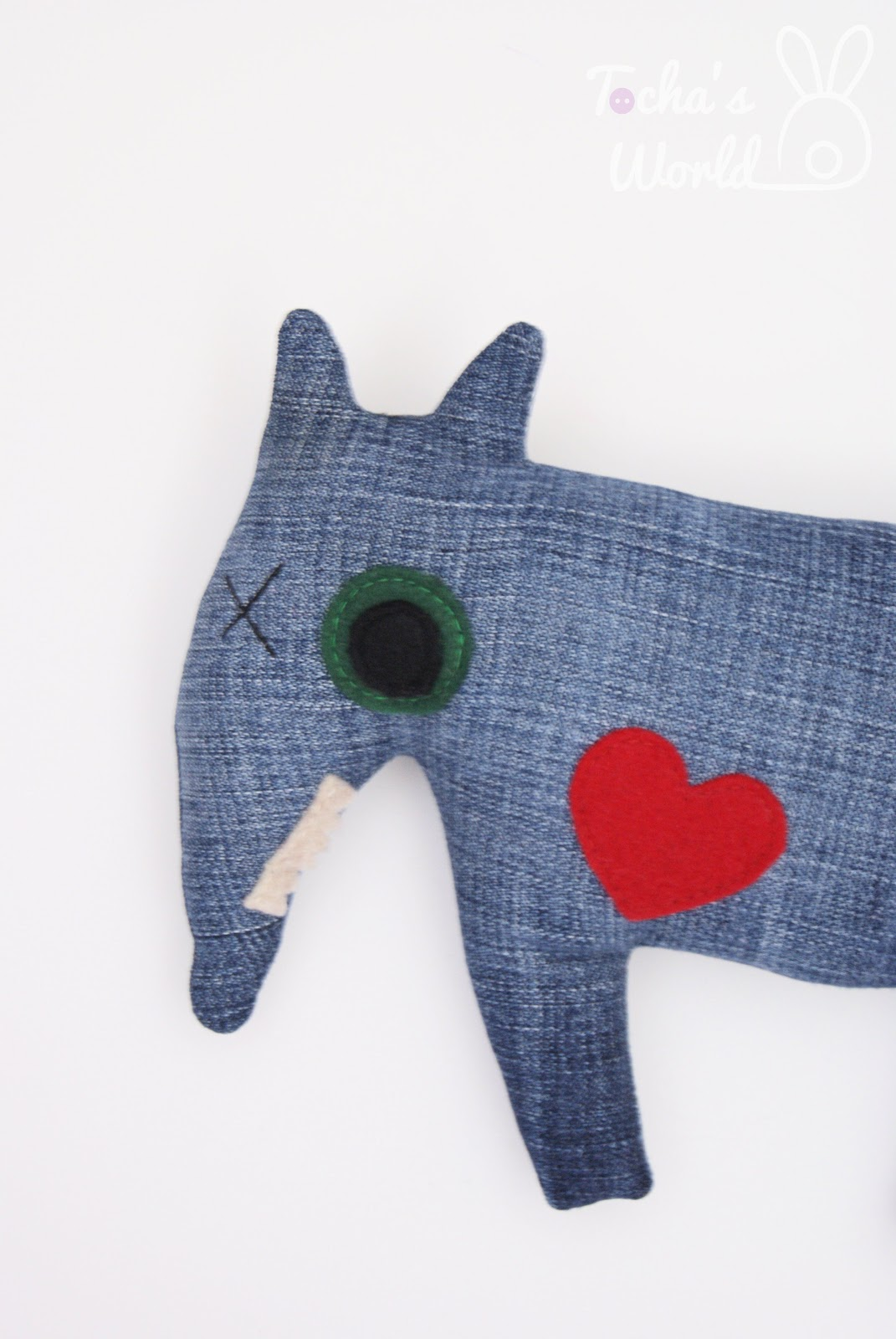 dog, stuffed toy, vegan, recycled, denim, eco felt