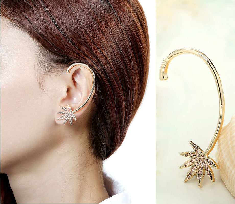 for stud leaf clip silver on cuff left tone ear earrings wrap fashion pin new