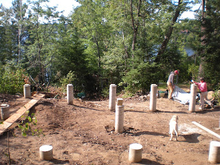 Footing for lakeshore cabin, Ely, www.huismanconcepts.com