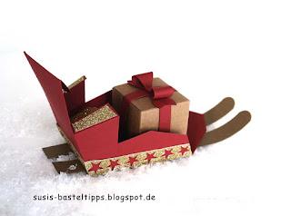Schlitten für weihnachtsgeschenke weihnachtsmann mit Stampin up stanze für Briefumschlag