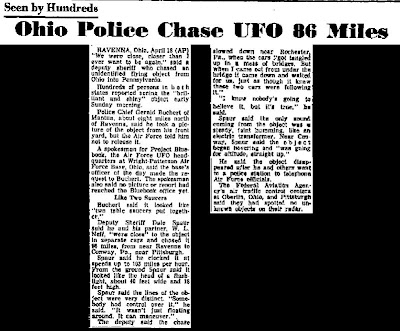 Ohio Police Chase UFO 86 Miles – The Stars & Stripes 4-20-1966