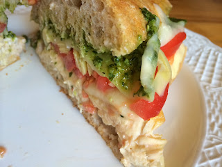 Toasted Pesto and Artichoke Chicken Sub  from Top Ate on Your Plate