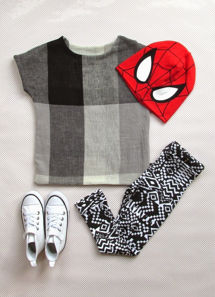 Tale of Boy edgy kids style from UK - square tee and tribal leggings