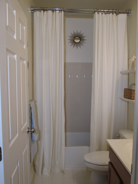 Guest Bathroom, Pottery Barn Drapes, Ceiling height shower curtain