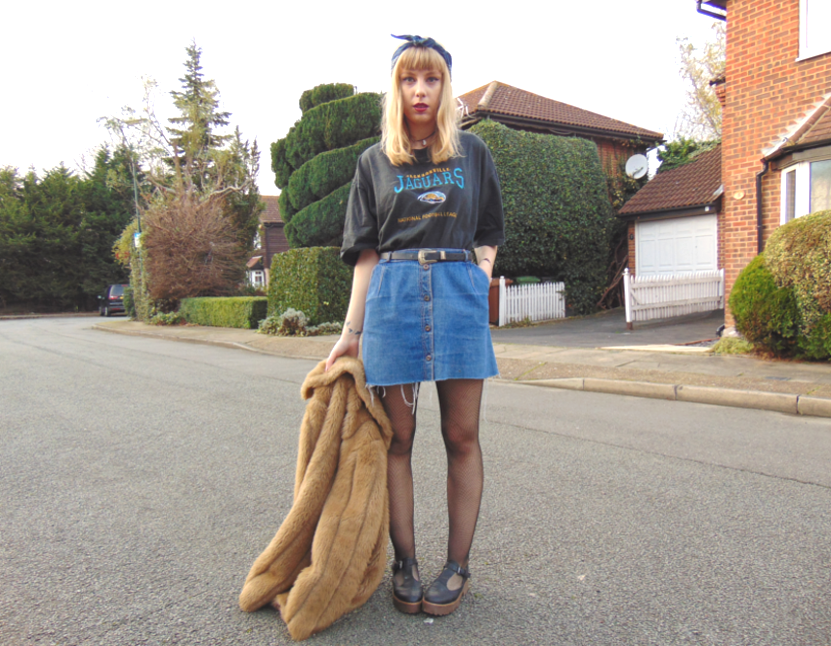 winter ootd, faux fur camel coat, fishnets, denim button down skirt, oversized graphic tshirt tee, chunky mary-jane shoes, fashion style inspiration, alternative girl, bandana 1