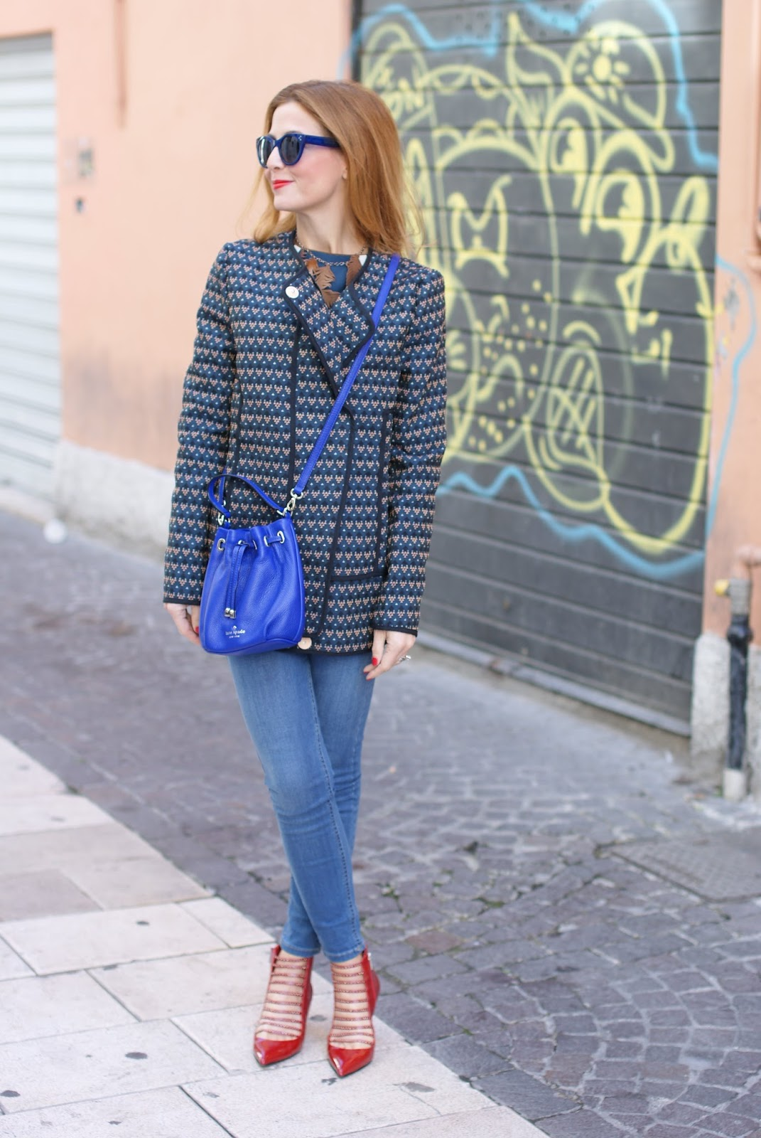 Paramita Ricinus jacket, Kate Spade mini blue bucket bag and red Le Silla kitten heels on Fashion and Cookies fashion blog, fashion blogger style