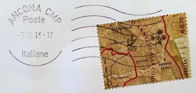 Francobollo celebrativo del 550° anniversario della definizione dei confini della Repubblica di San Marino