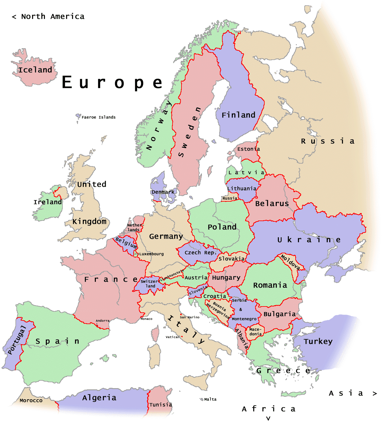 Europe: Maps Of Europe Region Country