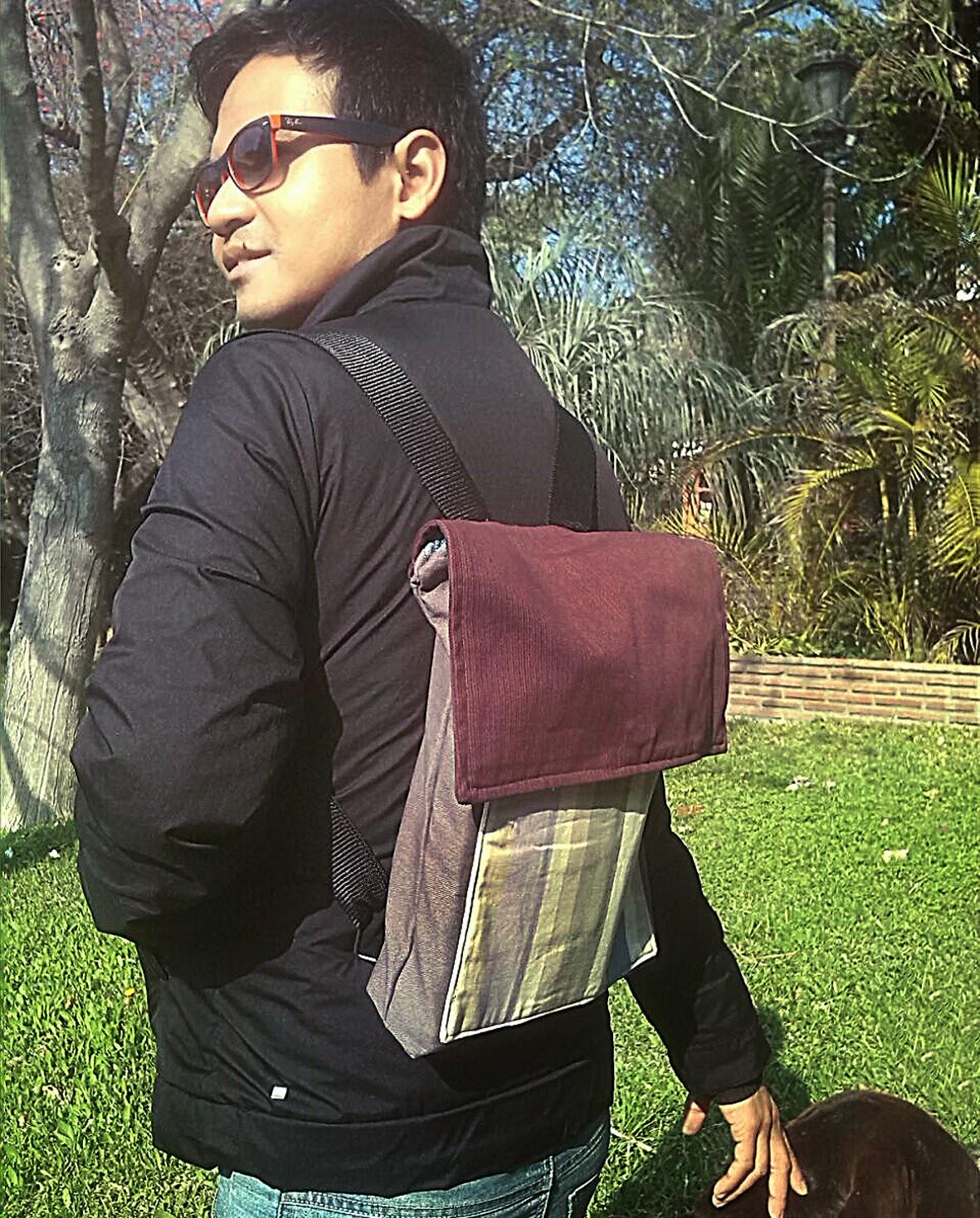 mochila, chico, moda eco, moda ecologica, moda reciclada, bolsos