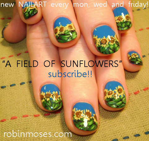 a Field of Sunflowers Nail Art