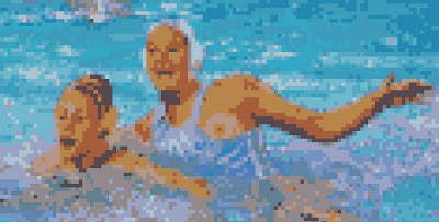 a pixelated image of 2 female water polo players, one with an exposed breast