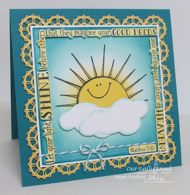ODBD Sunshine Blessings, ODBD Hello Sunshine, ODBD Custom Layered Lacey Squares Dies, ODBD Custom Clouds and Raindrops Dies, Card Designer Angie Crockett