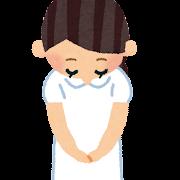 お辞儀をしている女性看護師・看護婦のイラスト(帽子なし)