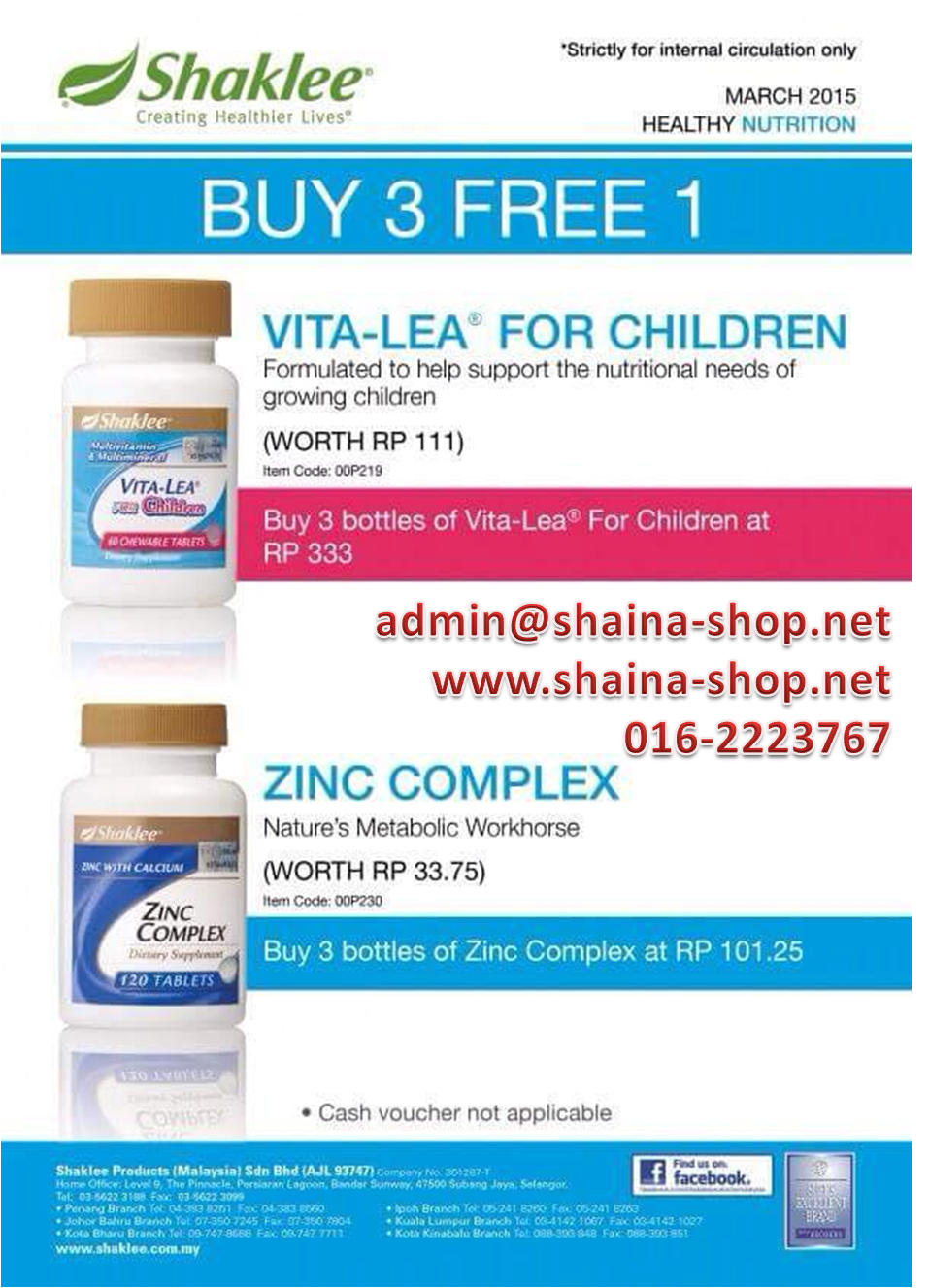PROMOSI SHAKLEE MAC 2015: VITA-LEA FOR CHILDREN & ZINC COMPLEX (BELI 3 PERCUMA 1)