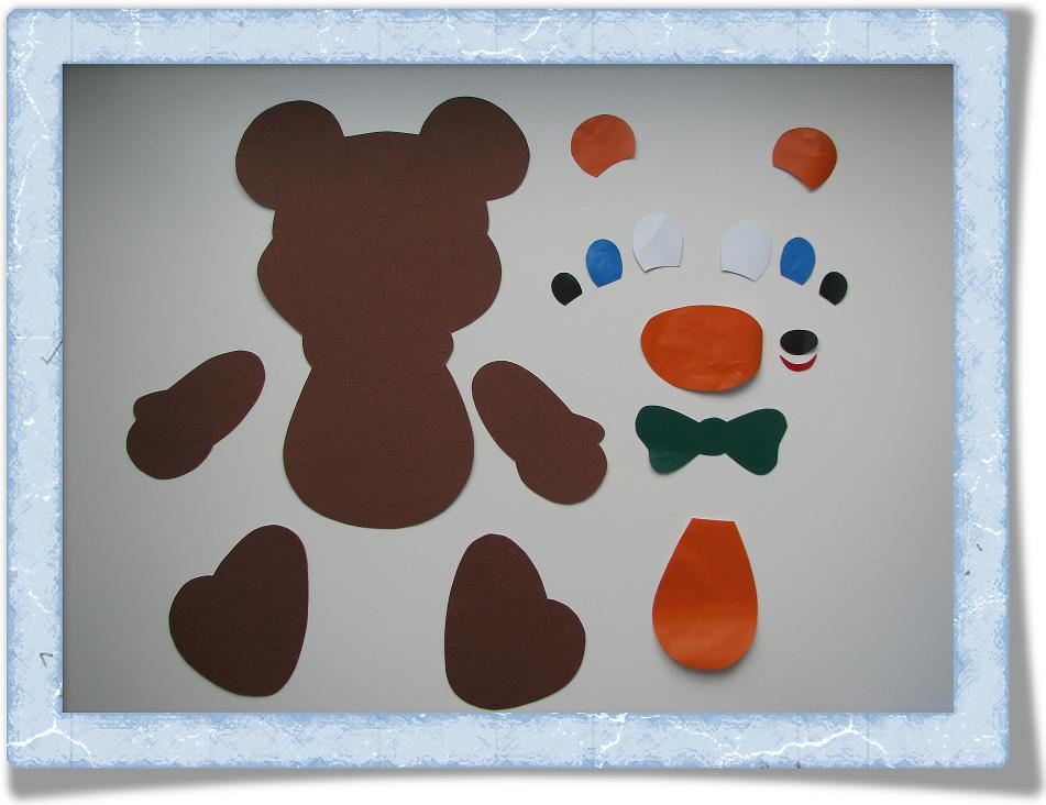 Как сделать из цветной бумаги медведя