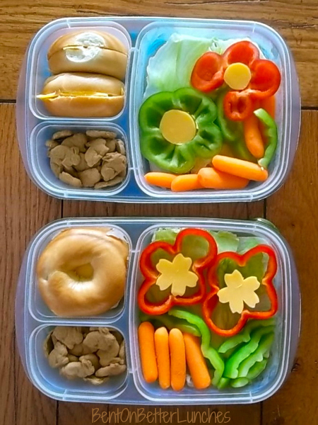 Flower Power bento lunch - Bell Pepper Flowers!