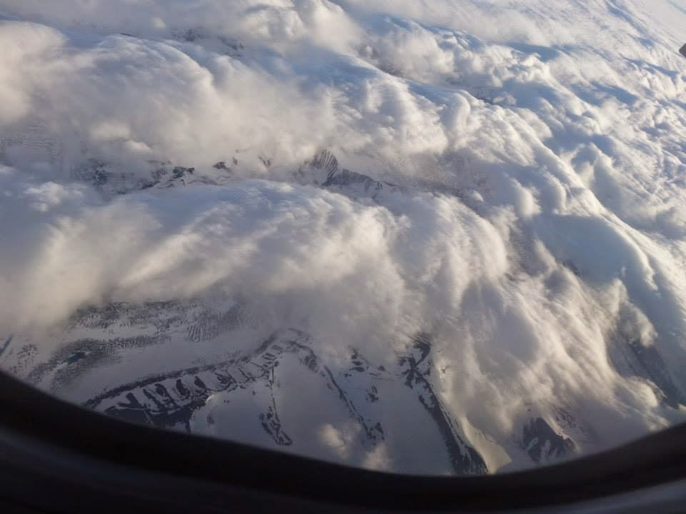 Mountain ridges above Svalbard
