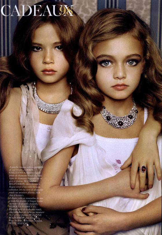 10-year-old little girl model in Vogue magazine