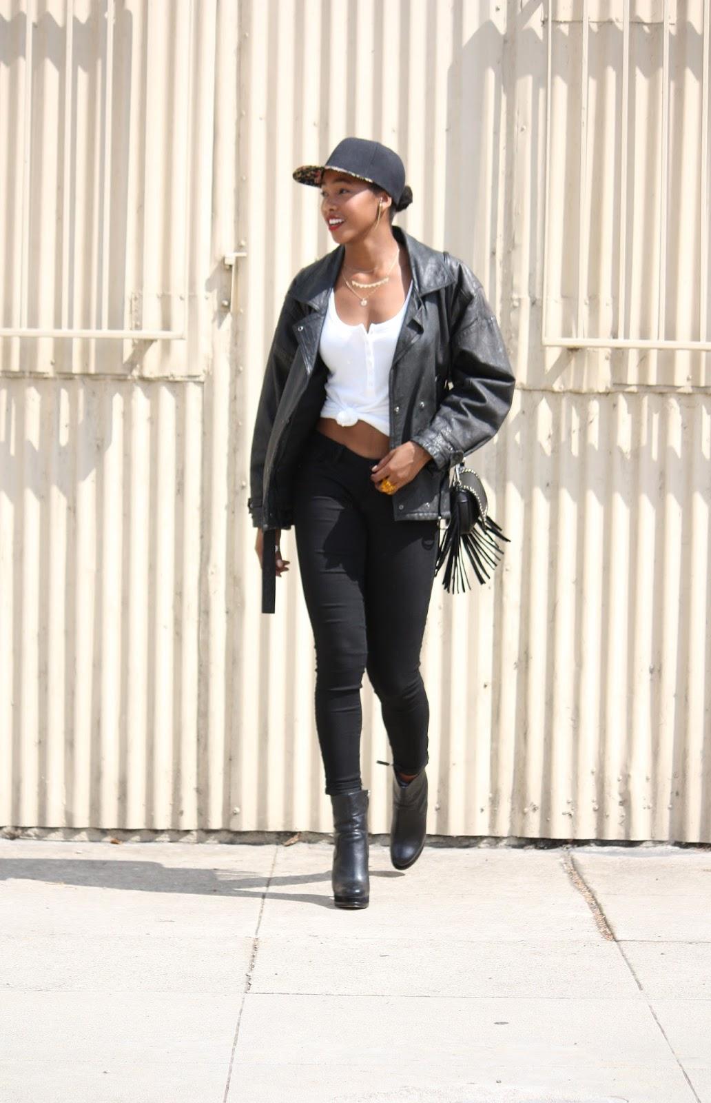 Wearing //  Generic snapback, Jami earrings, Mr Kate Beautymarks, H&M ribbed tank, vintage leather jacket, Old Navy Rockstar jeans, Nine West Boots