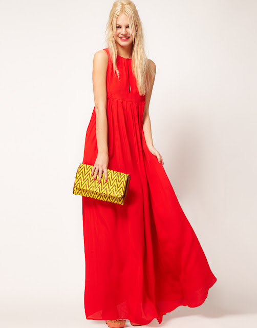 ASOS Collection Pleated Keyhold Maxi Gown Cherry Red