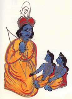 Rama welcome his estranged twin sons Kusa and Lava to court. They sing the story of Ramayana.