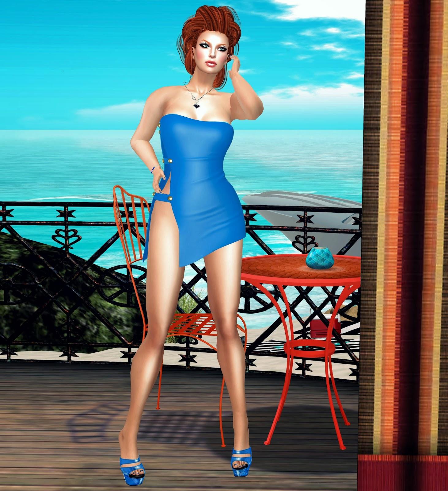 lushish catz sexy blue mini dress, vanity hair, miss canning, zoz