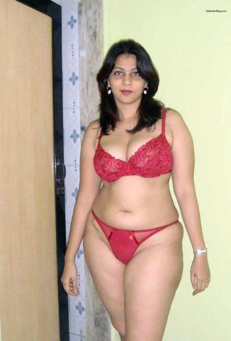 red bra and penty beautiful desi bhabhi