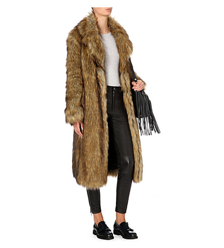 wolfie fur coat, whistles long fur coat,