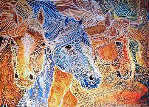 Batik – indonežanska tkanina oslikana voskom Batik+Art+Fabric+Horse+Motif