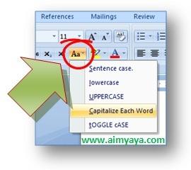Gambar: Cara merubah huruf kecil ke besar di ms word