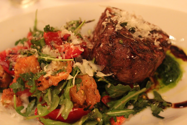 Filet mignon with panzanella at Ballo at Mohegan Sun