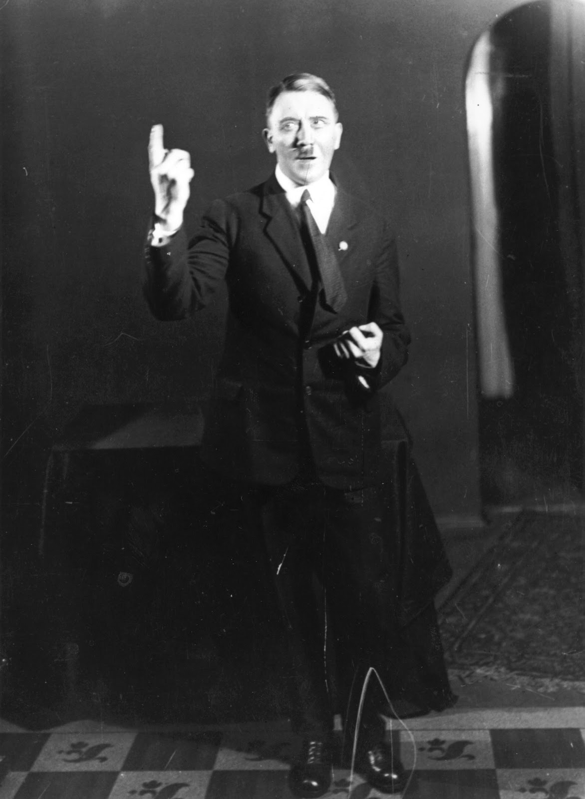 Hitler rehearsing his speech in front of the mirror, 1925