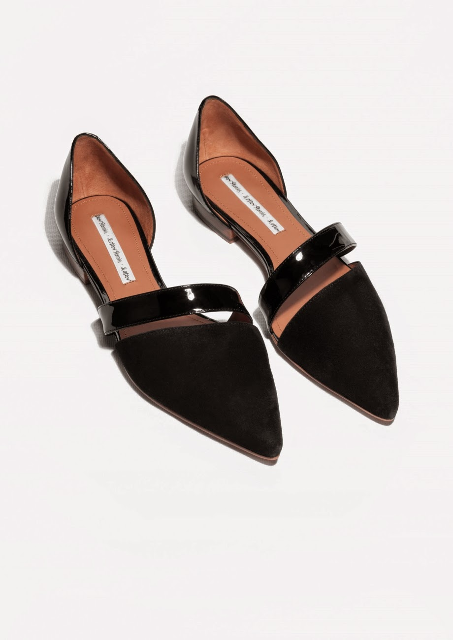 pointed black flats with strap
