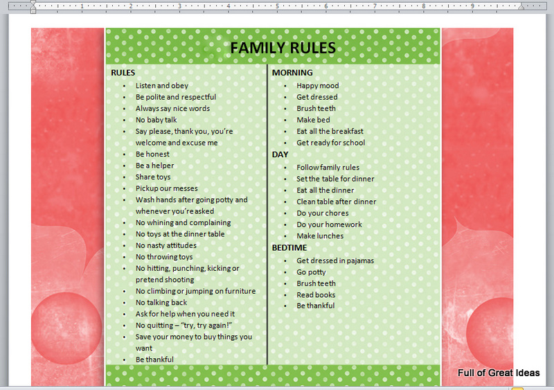 house rules chart template - full of great ideas dry erase chore charts and kitchen