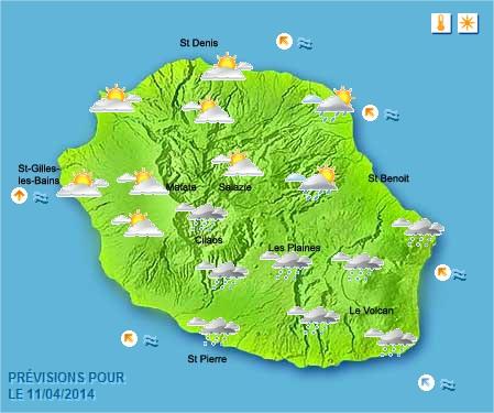 Prévisions météo Réunion pour le Vendredi 11/04/14
