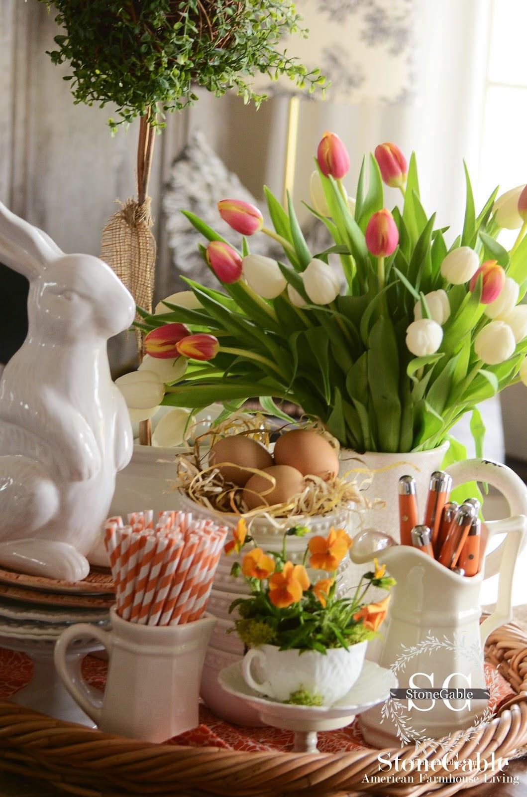 Spring Farmhouse Kitchen Vignette Stonegable