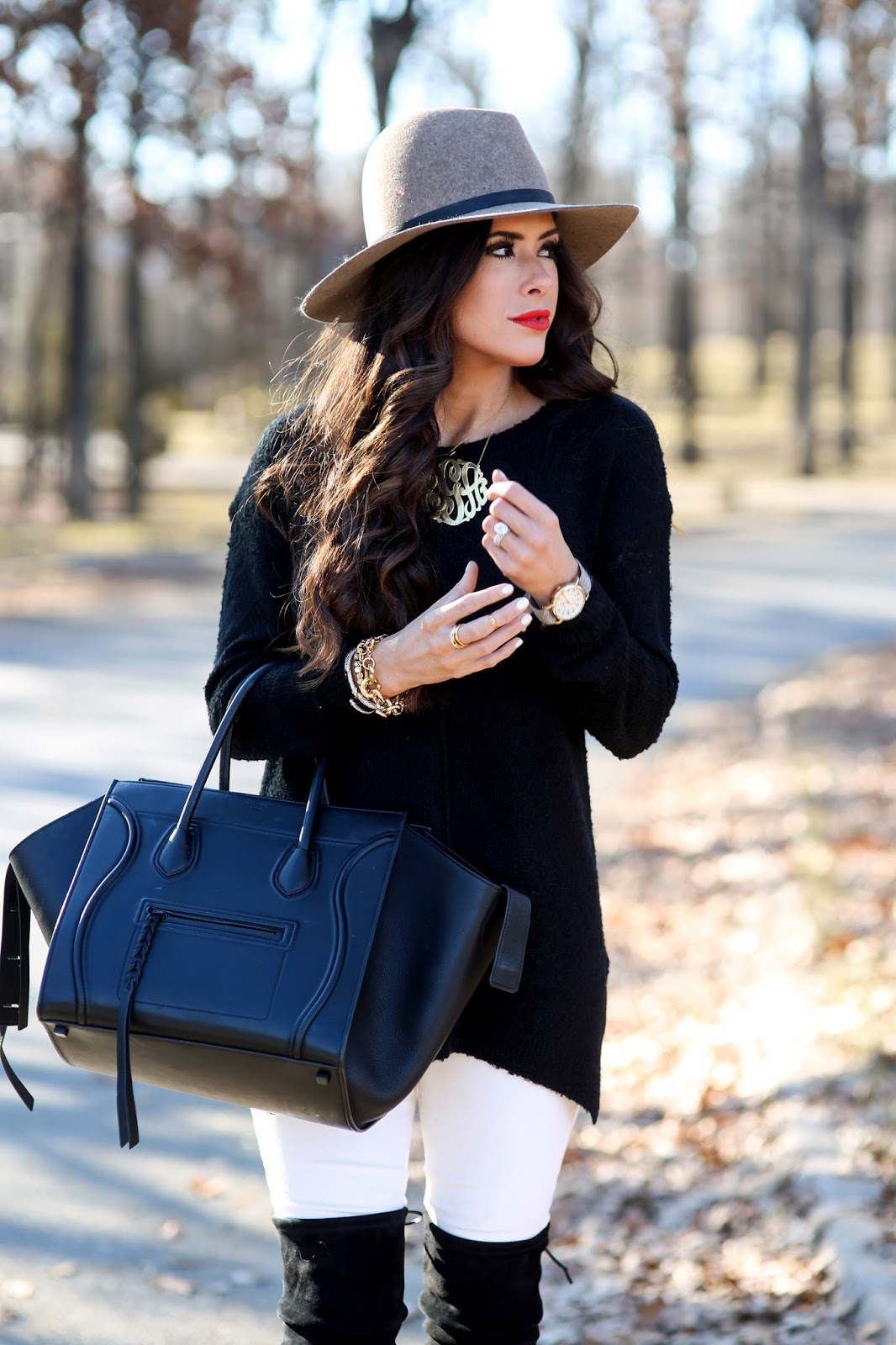 how to wear white denim in the winter, janessa leone hat, BP nordstrom sweaters, winter outfit ideas pinterest, fall fashion pinterest, winter fashion pinterest, emily gemma blog, the sweetest thing blog, tulsa fashion blogger, celine phantom black, stuart weitzman highland black, ootd over the knee boots, how to wear over the knee boots with white denim, timex watch tweed, brunette balayage, brunette haircut long layers medium, david yurman bracelet stack, oversized gold monogram, love always monogram, henri daussi ring, bauble bar gold link bracelet
