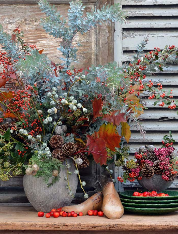 decoración navideña casera-arreglo-floral-elementos naturales-florero