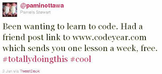 Been wanting to learn to code. Had a friend post link to www.codeyear.com which sends you one lesson a week, free. #totallyDoingThis #cool