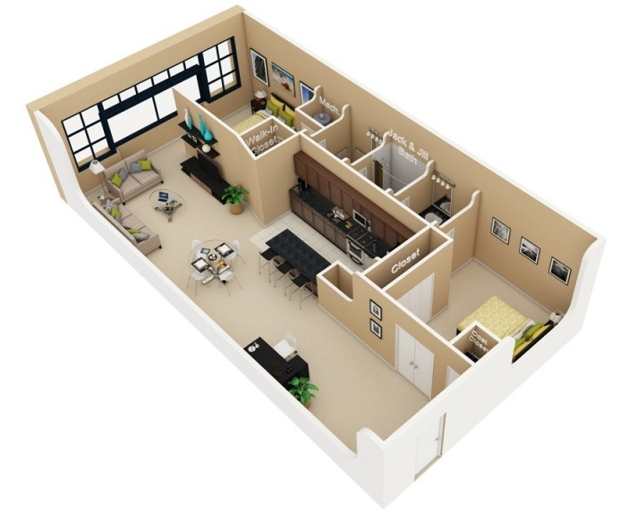50 3d floor plans lay out designs for 2 bedroom house or for Two bedroom loft floor plans