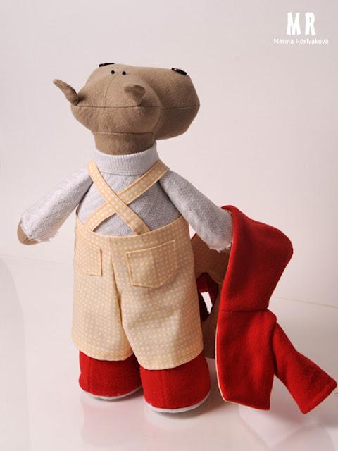 Марина Рослякова. Бегемотик-рыбак. Marina Roslyakova. Hand made toys