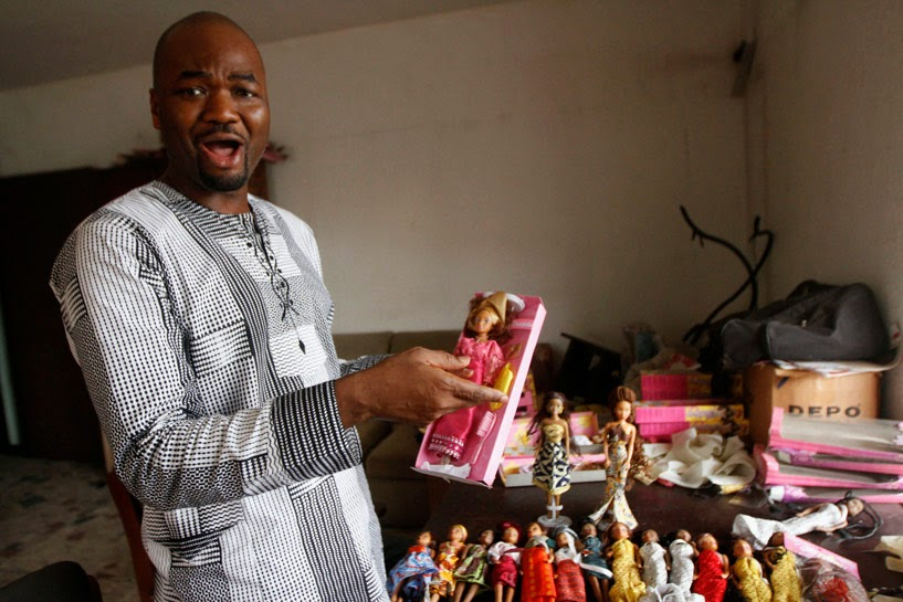 Taofick Okoya with his Nigerian Dolls