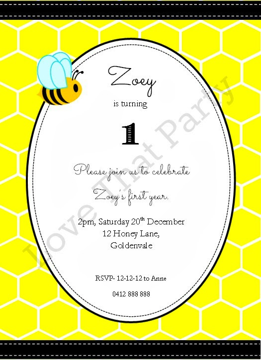 Honeycomb Bee Party Printable Invitation by Love That Party. Available now at http://lovethatparty.bigcartel.com/product/honeycomb-bee-party-invitation-digital-file
