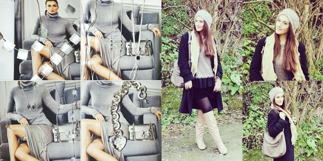 Instagram @lelazivanovic. New 925 silver jewelry. Outfit: Neutrals and black.