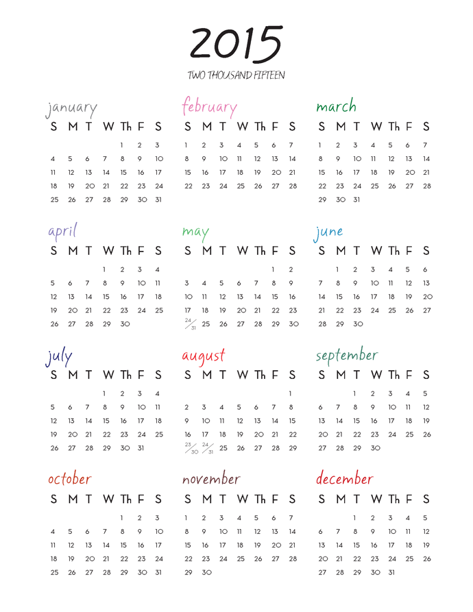 2015 one page calendar color version free download 2015 one page ...