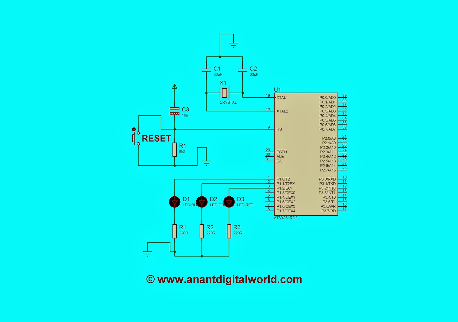 Interfacing Rgb Led 8051 Microcontroller Anant Digital World Adc To Blinking Using