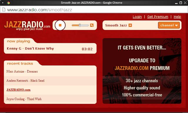 JAZZRADIO.com 瀏覽器播放視窗