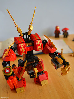"lego ninjago - the finished product... i didn't realise the ""ears"" were on backwards though"