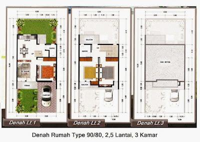 4 denah rumah minimalis 2 lantai type 90