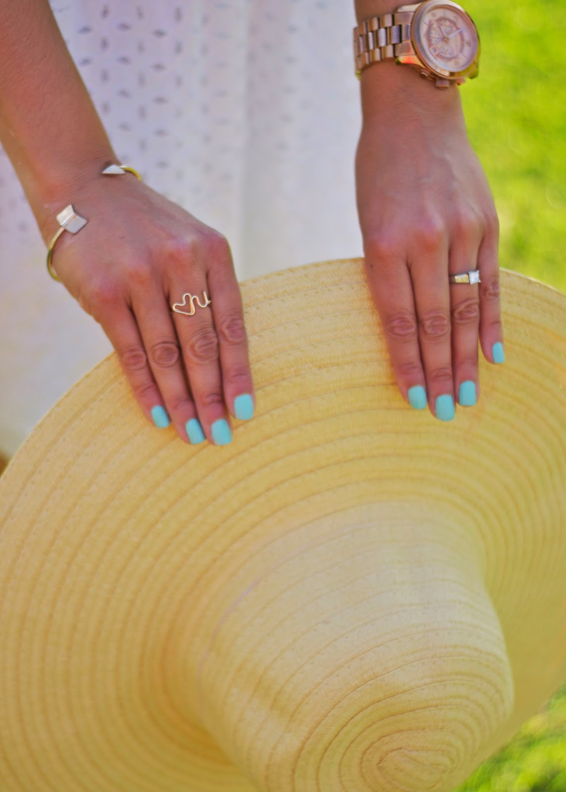 Pastel blue nails with gold jewelry, heart you ring by lush jewelry, forever 21 arrow bracelet, san diego jewelry makers